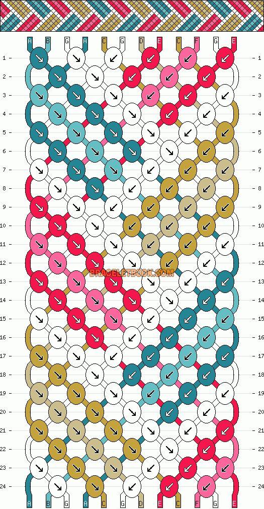 12 Fäden, 7 Farben, 24 Reihen #3214 von braceletbook.com