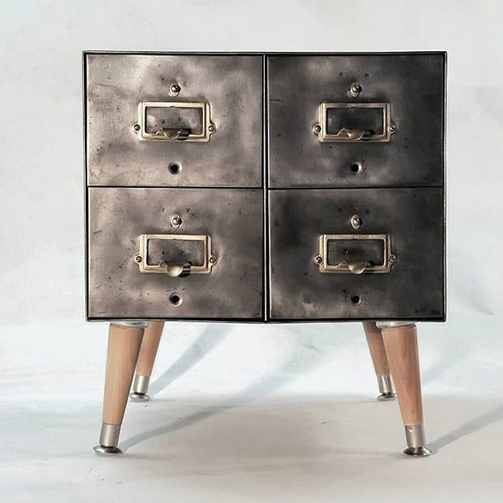 Vintage steel card file cabinets by artspace industrial Upcycled metal filing cabinet
