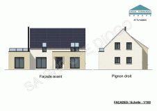 Modèle de 136 m² habitables - 5 pièces dont 3 chambres - grandes terrasse et salle de bain à l'étage #plan #dessin #maison #immobilier #diogo #diogofernandes