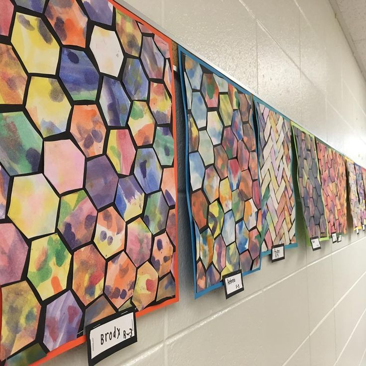 3rd graders finished painted paper project with honeycomb or herringbone tile designs. #3rdgradeart #elementaryart