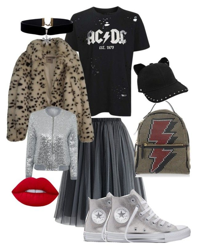 """""""Meow!"""" by erinjnolan on Polyvore featuring Topshop, Chicwish, Converse, ASOS, George, Les Petits Joueurs, Karl Lagerfeld and Lime Crime"""