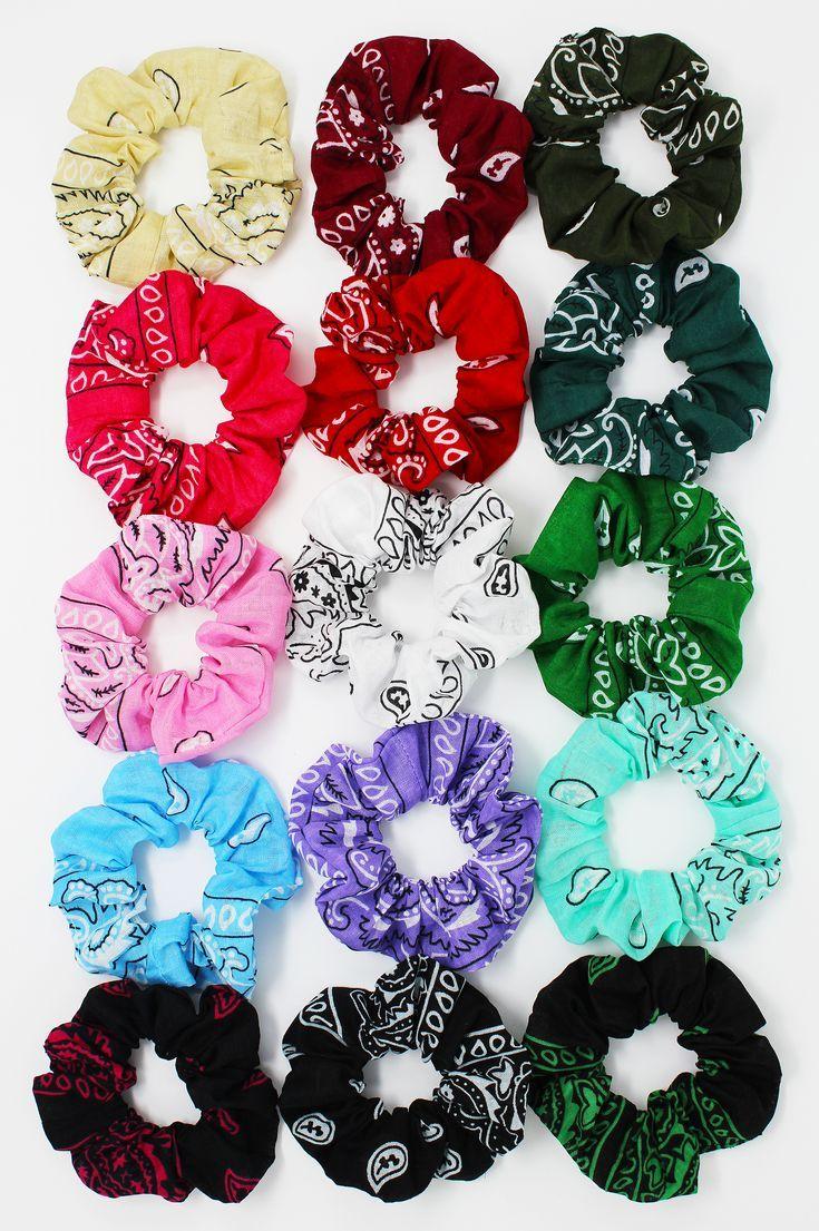 Bandana Print Hair Scrunchie, Hair Tie, Gentle Hai…