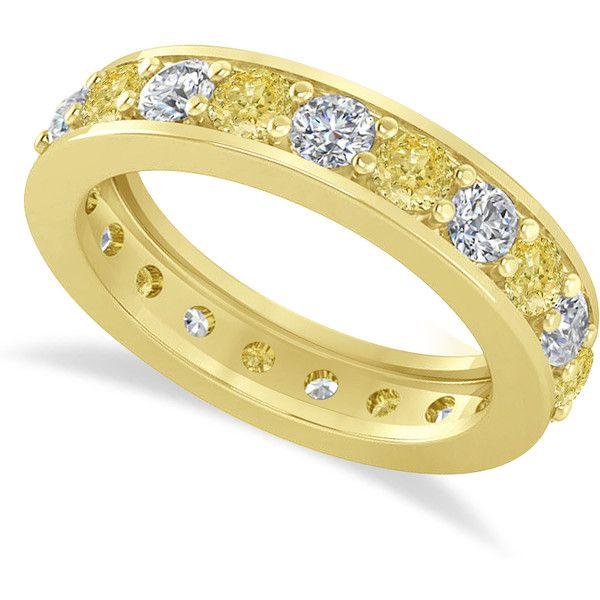 allurez yellow diamond eternity wedding band 14k yellow gold 210ct 3691325 iqd liked on polyvore featuring jewelry rings canary diamond ring - Yellow Diamond Wedding Ring