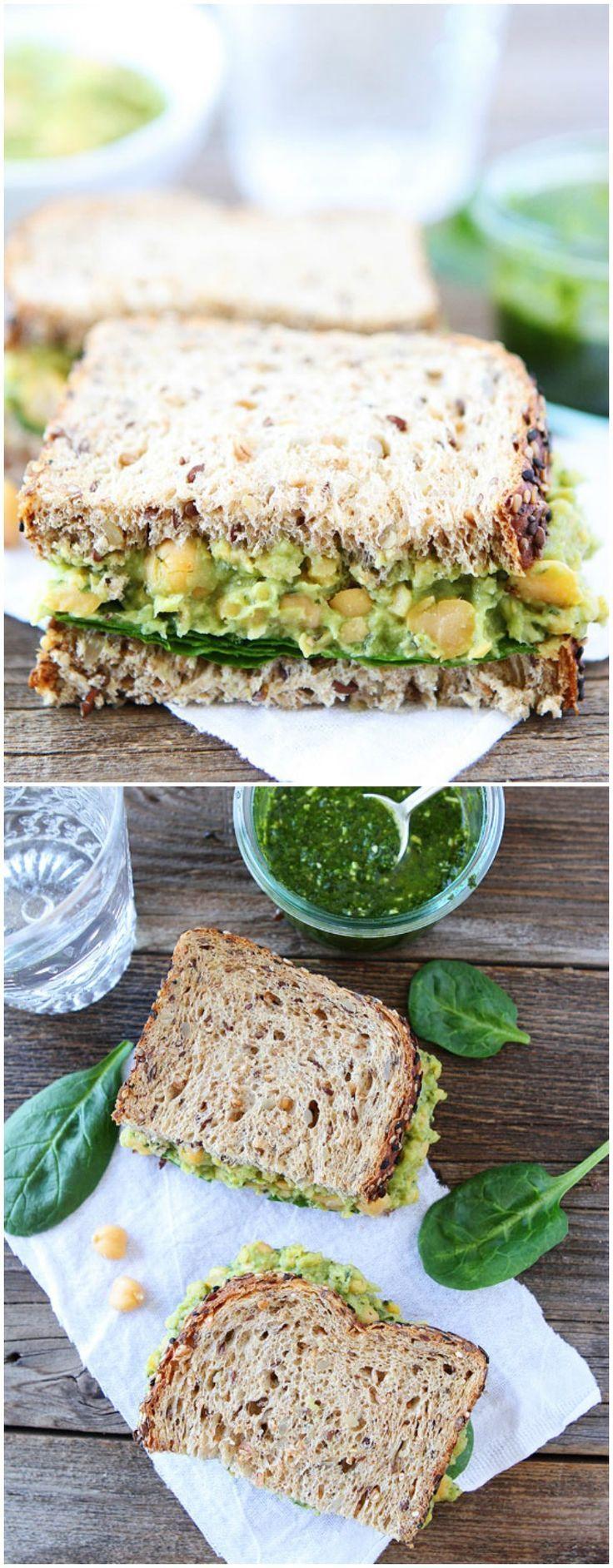 Smashed chickpea, avocado, and pesto salad sandwich | #Healthy #Easy #Recipe | @xhealthyrecipex |