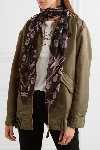 Alexander McQueen - Printed Silk-chiffon Scarf - Black