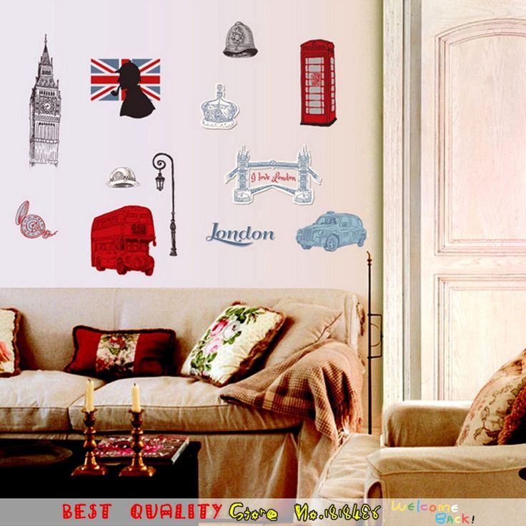 London City England Style Wall Stickers Classical Big Ben Clock Wall Paper  Paste, Home Decal Part 88