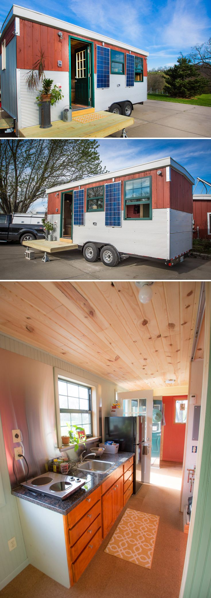 """Thermal solar and hydronics expert, Bob """"Hotrod"""" Rohr, built this colorful tiny house, Starlighter, with a solar panel system and radiant walls and floors."""