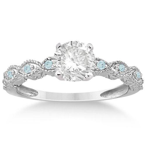 Vintage Marquise Aquamarine Engagement Ring 14k White Gold (0.18ct)-Allurez.com