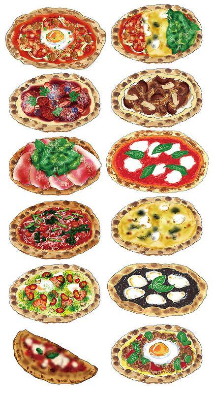 Food illustration: Pizza Illustration by Ayu Akiyama Delicious Design Tokyo, Japan