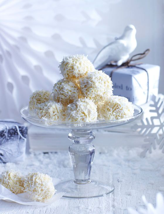 White chocolate and coconut truffles. Give your gifts a personal touch this Valentine's Day.