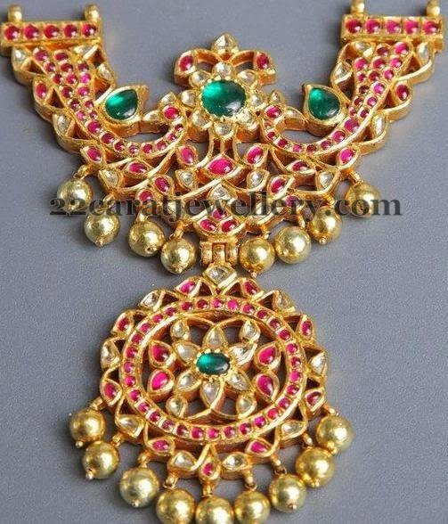 Jewellery Designs: Peacock Ruby Temple Locket