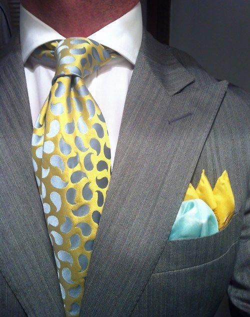 Grey herringbone suit Ralph Lauren fitted , Tie Richard James Silk Square by Rubinacci