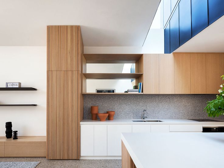 Kitchen splashback created using Signorino's Italian Terrazzo tiles (colour: EM-6806). Designed by Pandolfini Architects. Photo: Rory Gardiner