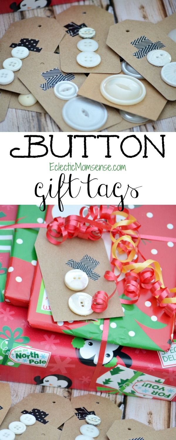 Button Snowman Gift Tags- how cute are these.  Make these gift tags in just 2-steps, with a few supplies.
