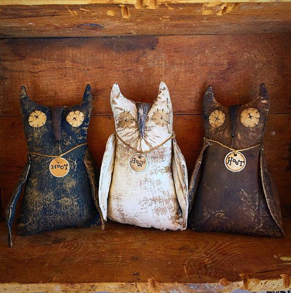 Primitive owls , primitive decor , black, brown and white primitive owls, primitive dolls..