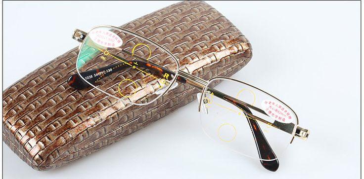 Progressive multifocal reading glasses Mens Gold See near far Ultra light alloy intelligence +1.0 +1.5 +2.0 +2.5 +3.0 +3.5 +4.0