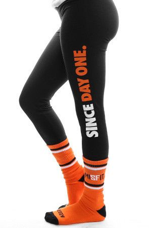 Since Day One (Women's Black/Orange Leggings)