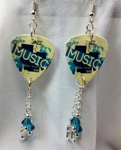 781684da2 Music Guitar Pick Earrings with Charm and Blue Swarovski Crystal Dangles