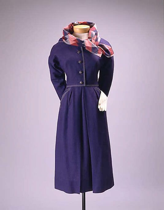 Suit  Claire McCardell  (American, 1905–1958)    Manufacturer:      Townley Frocks (American)  Date:      early 1950s  Culture:      American  Medium:      linen, cotton  Dimensions:      (a) Length (sb): 17 1/2 in. (44.5 cm) (b) Length at CB: 29 1/2 in. (74.9 cm)