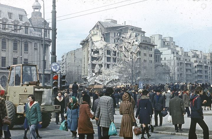 Bucureşti Blocul Dunărea, după cutremurul din 4 martie 1977