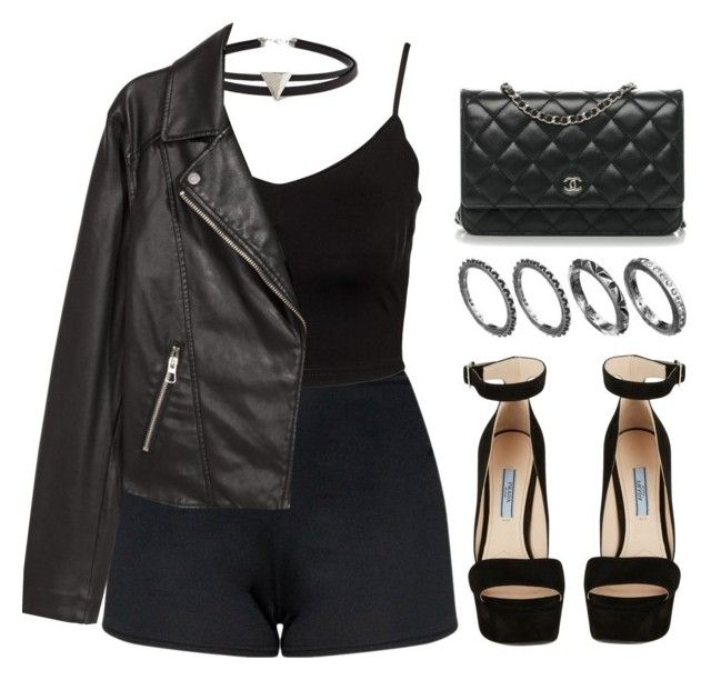 """""""#14077"""" by vany-alvarado ❤ liked on Polyvore featuring Forever 21, Glamorous, H&M, Prada and Chanel"""