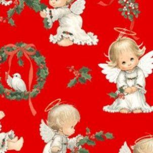 Elizabeth Studios - Red Christmas Cherubs & Wreaths Metallic - cotton fabric