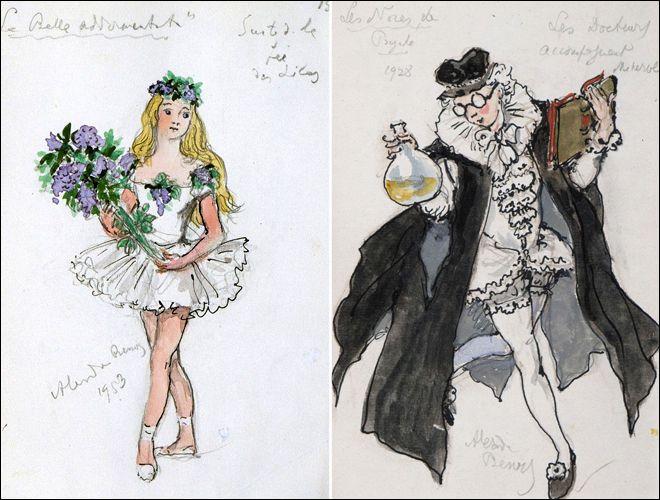 Слева: эскиз костюма к постановке «Спящая красавица», 1953 / Справа: Доктор, сопровождающий Минерву. Эскиз костюма к постановке «Свадьба Психеи», 1928