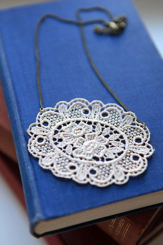 Lace Necklace by VintageDelightsShop on Etsy