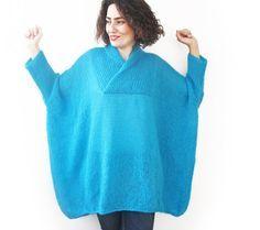 Azul Tallas grandes tejidas a mano del suéter - Poncho - Túnica - Dress por Afra