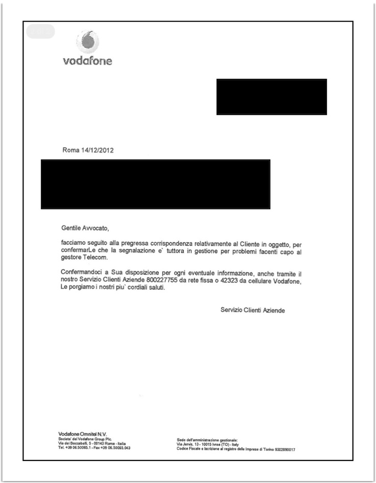 Ecco come Vodafone gestisce i problemi tecnici della propria clientela....