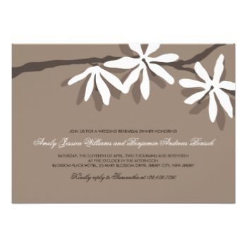 Customize this beautiful Modern White Blossom Branch Wedding Rehearsal Dinner Invite with your own information. #white #custom #brown #beige #neutral #blossom #white #blossom #contemporary #rehearsal #dinner #modern #floral #elegant #clean #lovely #beautiful #wedding #custom #invite #invitation #wedding #invites #invite #customizable #template #templates #marriage #ceremony #event #special #occasion #party #invites #invitations #hip #blossoms #original #spring #branch