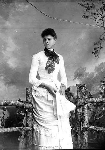 African American girl in white dress late 1800s