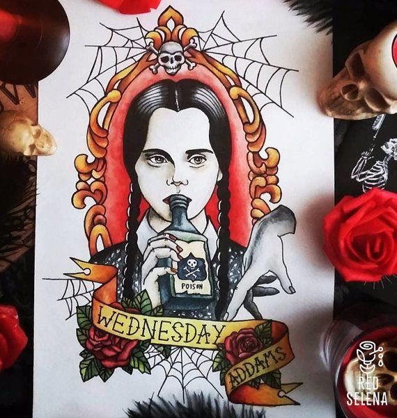 Original painting Not a print Wednesday Addams Tattoo by RedSelena