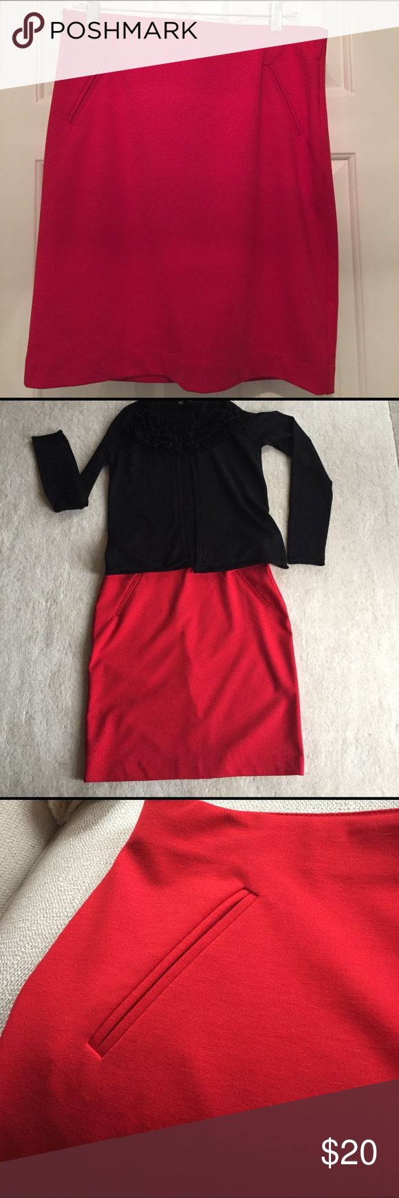 Donna Ricco NY Red Knit Skirt Donna Ricco Knit skirt in beautiful shade of red, never worn, back kick slit still stitched. Comfortable elastic waistband. Machine wash cold. Content is Viscose, Polyester & Elastane. Donna Ricco Skirts Midi