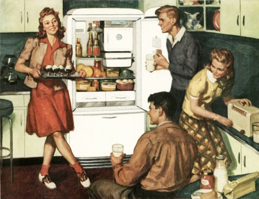 Come on, gang, let's all have a swell snack! #vintage #1940s #teenagers #kitchen #food #fridge