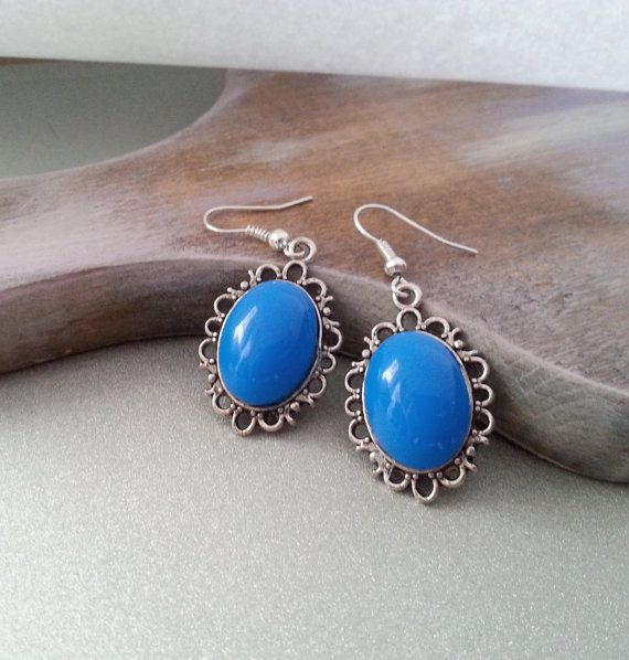 Blue cabochon earrings simple delicate christmas gift idea for her  gift package