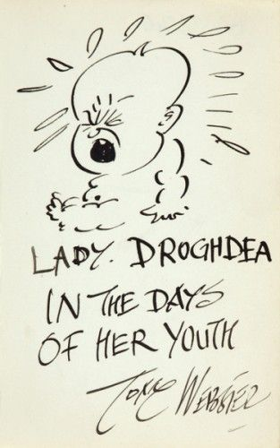 Original signed pen and ink caricature by Tom Webster of Kathleen Countess Drogheda  [c.1932]