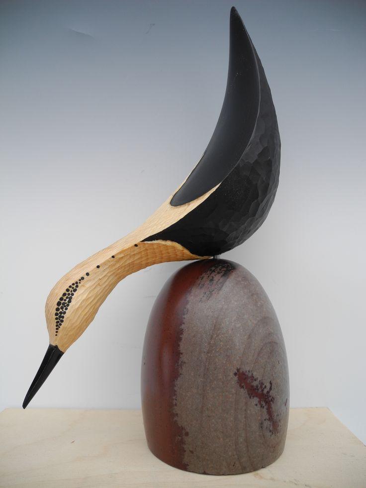 Fishing Shorebird On Shiva Lingam Stone Hand Carved Pine