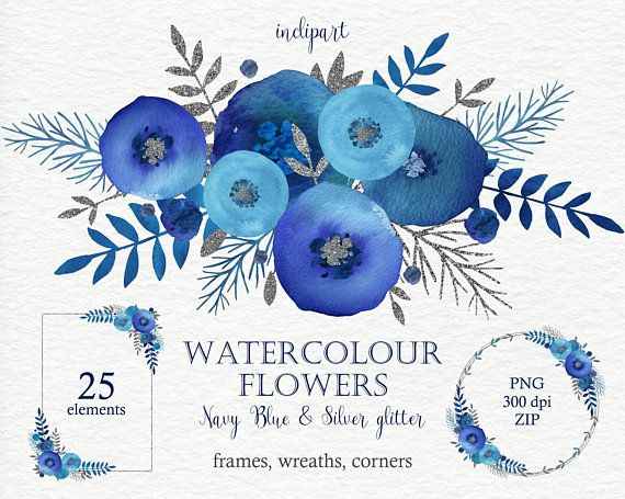 Watercolor Navy Blue Flowers Clipart Floral Wreaths Corners