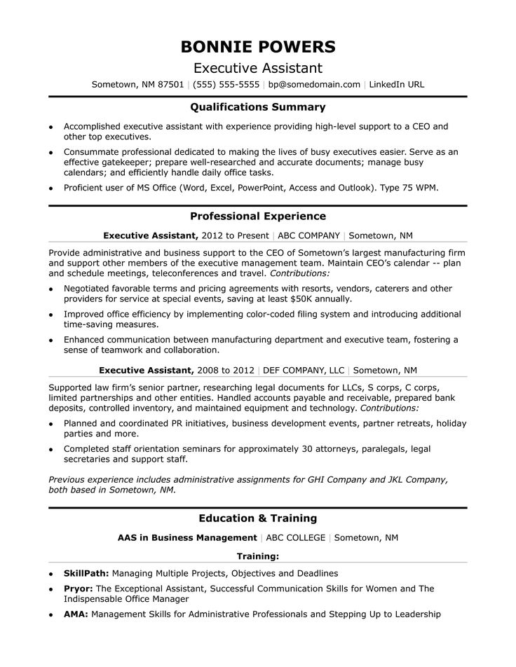 This executive assistant resume sample shows how you can