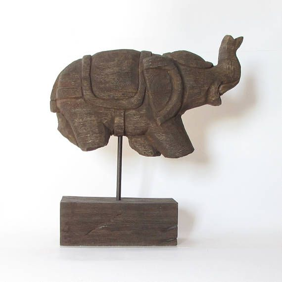 Wood carved elephant on standfigurinesiglo wooden Elephant