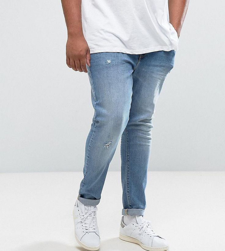 ASOS PLUS Super Skinny Jeans With Abrasions In Mid Wash Blue - Blue
