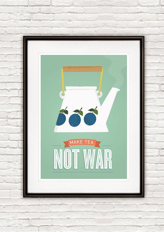 Art for kitchen tea quote print Kitchen poster Kitchen by handz