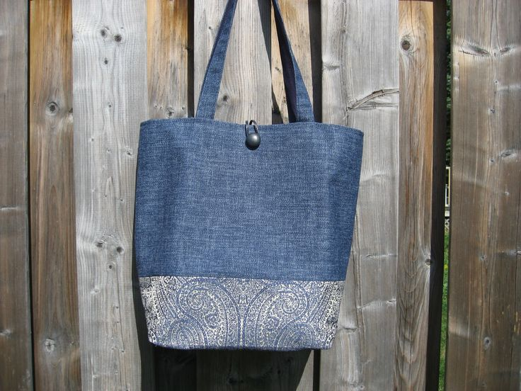 Blue linen/canvas and paisley combination.