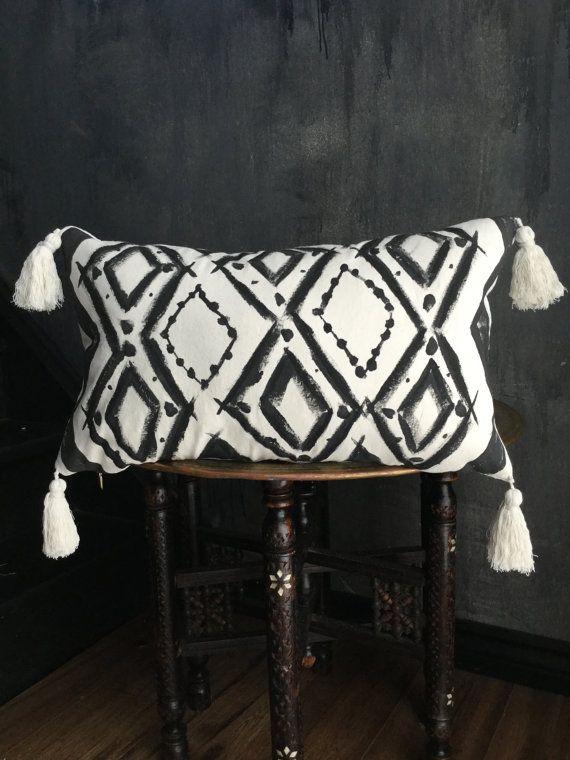 Hand Painted Boho Pillow Beni Ouarain Inspired by TaisaSilecky
