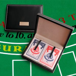 Card Shark Personalized Playing Card Case (JDS Engravables GC807) | Buy at Wedding Favors Unlimited (http://www.weddingfavorsunlimited.com/card_shark_personalized_playing_card_case.html).