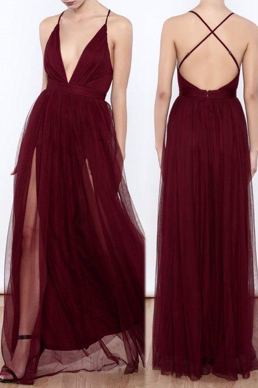 3f757142101 Sexy Deep V Neck Burgundy Long Slit Prom Dress Evening Dress from ...