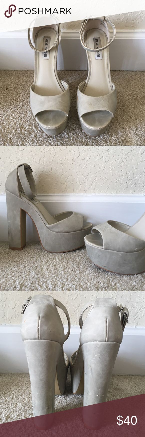 Steve Madden Heels These classy pumps are in excellent condition! Still have a full life ahead of them! They have minor scratches and minor dirt marks but can easily be cleaned if you know how to clean Suade. They fit gorgeous and are VERY comfortable! Steve Madden Shoes Heels