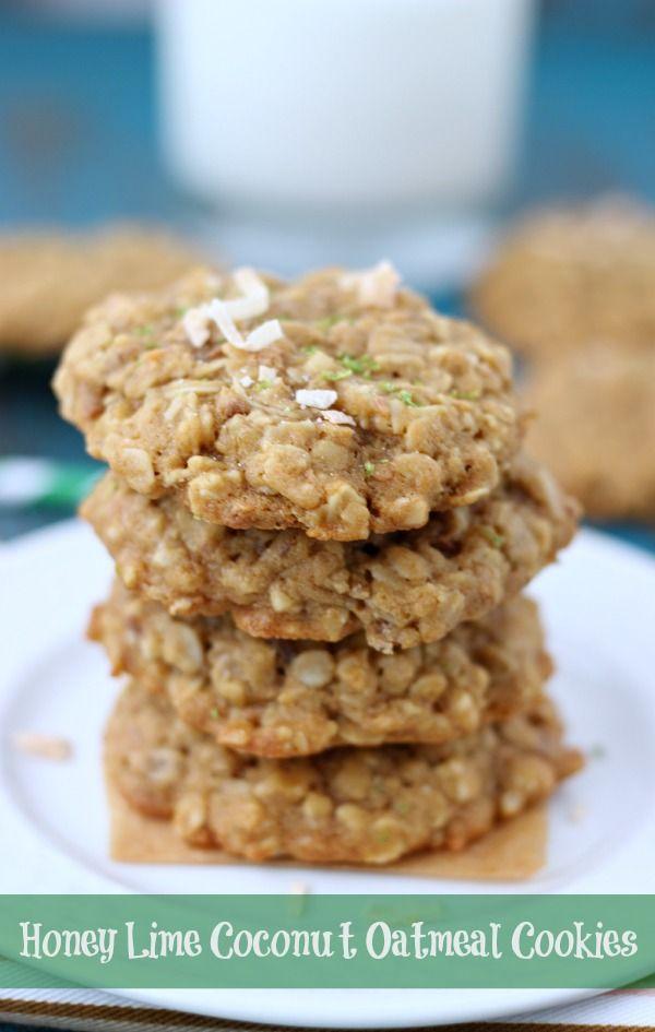 Honey Lime Coconut Oatmeal Cookies