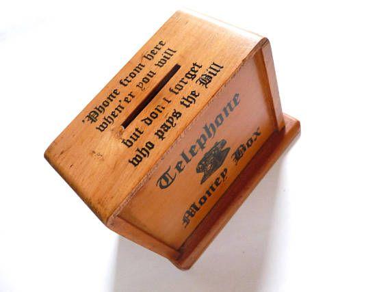 Vintage Money Box Wood Telephone Money Box Made in Japan